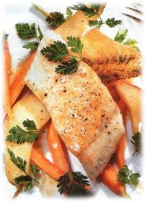 Филе рыбы с морковно-грушевым гарниром