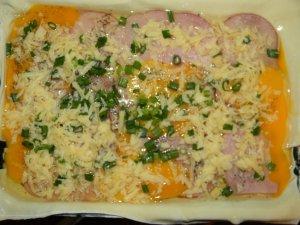Слоеный пирог с ветчиной и яйцами