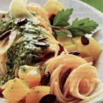 Спагетти с тыквой под ароматным соусом песто